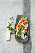 Coconut rice with papaya, Thai asparagus and fresh coriander