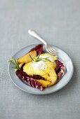 Polenta with fried pears and radicchio