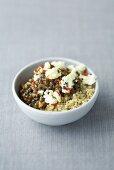 Quinoa with lentils and feta