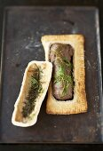 Beef fillet with herbs baked in salt dough