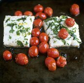 Fish fillets with herbs and cocktail tomatoes