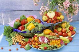 Still life with fresh fruit and vegetables in bowls