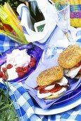 Mozzarella & pepper sandwiches & raspberry meringue for picnic
