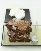 Low-calorie warm fudge brownies with lemon sorbet