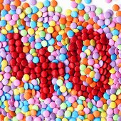Coloured chocolate beans with the number '40'