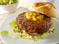 Ciabatta burger with corn relish
