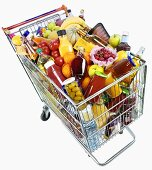 Shopping trolley full of food and drink