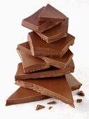Pile of pieces of milk chocolate