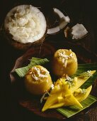 Sticky coconut rice with exotic fruit (Thailand)