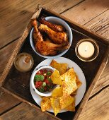 Chicken legs, nachos and salsa for Bonfire Night (UK)