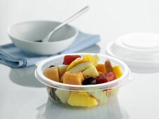 Fruit salad in plastic container to take away