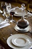 Laid table with port wine