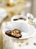 Marzipan biscuits and coffee (Christmas)