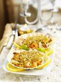 Seafood gratin in shells (Christmas)