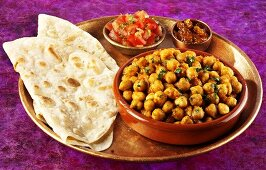 Channa masala (chickpea curry from India) and chapatis