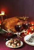Stuffed turkey, bacon-wrapped dates and red wine (Christmas)
