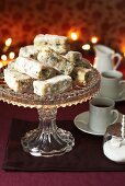 Mini Christmas stollen cakes and coffee