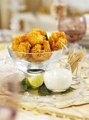 Christmas battered king prawns with a chive dip