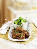 Bread stuffing with roasemary and brussels sprouts (Christmas side dishes)