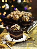 Chocolate cakes with profiteroles for Christmas dinner