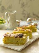 Slices of potato gratin