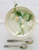 Vegan coconut milk soup decorated with flowers