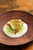 Cod with a verbena crust and mushy peas