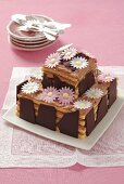 Chocolate mousse cake with decorated with flowers