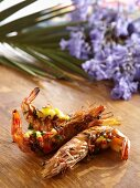 King prawns with a peach and chilli salsa