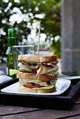 Club sandwich with grilled fish