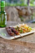 Vietnamese pork kebabs with bean sprout salad