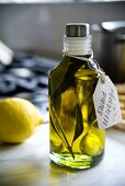 Olive oil with herbs and garlic as a gift