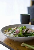 Noodle soup with vegetables and shiitake mushrooms (Asia)