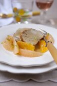Roast veal with citrus fruit compote