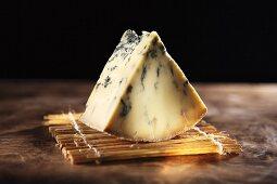 A slice of Stilton, English blue cheese