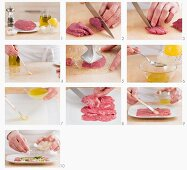Steps for making beef carpaccio