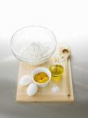Ingredients for ravioli dough