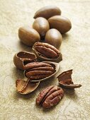 Pecan nuts with and without shells