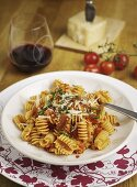 Corkscrew noodles with eggplant-tomato sauce
