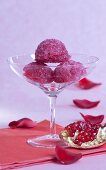 Rose sorbet with pomegranate