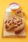 Strawberry cake, slice, milk, powdered sugar