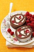 Chocolate rolls with Mascarpone cream and raspberries