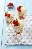 Layered dessert with biscuits, mascarpone, raspberries and honey