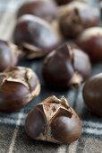 Chestnuts cut open