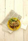 Crab salad on a newspaper