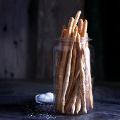 Grissini al papavero (bread sticks with poppy seeds and salt, Italy)