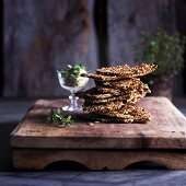 Home made whole grain crackers, stacked