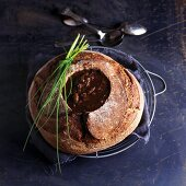 French onion soup in a bread bowl