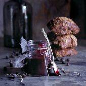Black currant marmalade and whole grain bread