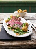Beef fillet with rosemary and rocket